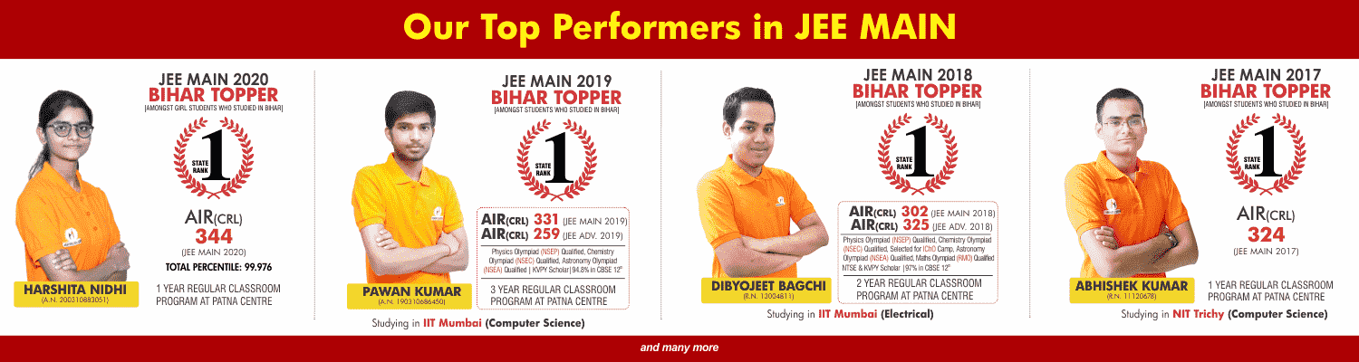 OUR TOP PERFORMERS IN JEE MAIN
